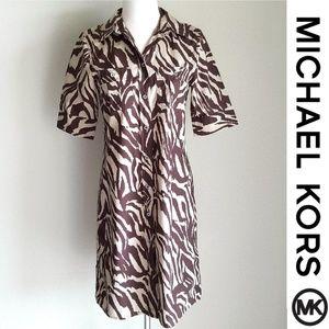 Michael Kors Beige Brown Tiger/Zebra Shirt Dress